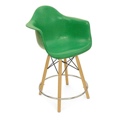 Modernica Dowel Counter Stool Arm Shell Chair - The Case Study Fiberglass Dowel Counter Stool with swivel base is an essential for the modern home. Available in a myriad of colors, choose your wire-frame in either zinc-plated steel or black powder-coated steel, and finish your design by choosing either solid maple dowels or solid walnut dowels.