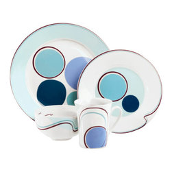 "Livliga - Halsa Portion-Control 4 Piece Dinnerware Set - Halsa, which literally means ""good health"" in Swedish, is a bold design in various hues of blue that is a fun and lively portion control dinnerware pattern that encourages you to be healthy and mindful when eating in order to support a vibrant lifestyle."