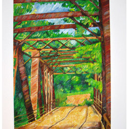 Summer Bridge (Original) by Julie Jones - I wanted to paint this image of a bridge over a small river that was very special to me one summer.