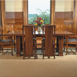 "Copeland Furniture - Dana-Thomas 84 - 124"" W x 42"" D Grand Dining Table - The Dana-Thomas Dining Tables were re-issued in 2006 by Copeland Furniture . Each piece bears a unique serial number, its date of manufacture, and the signature. Features: -Dana-Thomas Dining Room collection. -Material: Solid hardwood. -Self-storing leaves generously accommodates twelve people. -Made in the USA."