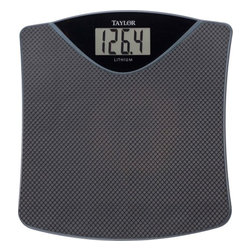 "TAYLOR - TAYLOR 73304072 Lithium Digital Scale - � 350lb capacity in .2lb increments;� Premium expanded-vinyl mat;� Large 1.5"" LCD digits in a 1.6"" display;� Slim profile;� 1.5"" thick;� Slightly curved platform;� Instant on, auto zero;� Includes long-life lithium battery"