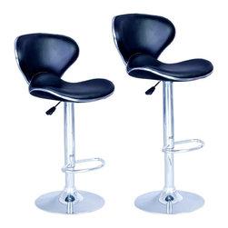 SET of 2 Bar Stools Black PU Leather Modern Hydraulic Swivel Dinning Chair - 2 x Bar Stools
