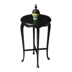 Butler - Masterpiece Round Accent Table, Black Finish - This Queen Anne-inspired table proves that good things do come in small packages. Its scale makes it an excellent addition to virtually any space. Masterpiece represents Butler's hand-picked collection of lifestyle pieces for those with discriminating tastes... And a desire to be different. This collection is, above all, eclectic, offering a wide range of styles designed to provide bright accents for traditional to contemporary decors.