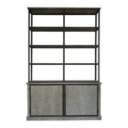 "Zentique - Zentique Lincoln Large Cabinet - Zentique's Lincoln large cabinet introduces rustic texture and industrial style to transitional interiors. Framed by iron, this furnishing's four open and two concealed oak shelves provide practical storage. 66""W x 16""D x 103""H; Limed gray oak; Six shelves"
