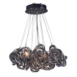 Viz Glass, Inc. - Infinity Chandelier, Metallic - Add instant elegance to your home with the Infinity Chandelier. This unique piece is handblown from Italian Glass and features a tangle of textured metallic glass strands hung from a chrome hardware base. Variations may occur in individual pieces. Maximum height is 65 inches. Includes five 40 watt candelabra bulbs. UL listed. Hardwire; professional installation recommended.