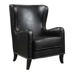 Coaster - Coaster Wing Accent Chair with Nailhead Trim in Black Finish - Coaster - Club Chairs - 900162 - Elegant traditional accent seating can be added to a multitude of rooms in your home with this great wing back accent chair. Featuring nailhead trim, tapered wood legs, and a black faux animal print across the whole chair, this unique chair is a smart furniture choice for your home.