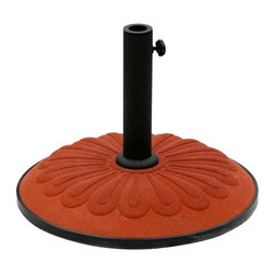 International Caravan - Terra Cotta Resin Umbrella Base w Sunflower D - Finish: YellowFunctional, stylish umbrella base will prove an essential component of your outdoor environment. Vibrant terra cotta finish accentuates lively sunflower design. Sturdy, long lasting resin base will provide dependable performance for years to come. Adjustable knob included. Adjustable to fit many size poles. Made of Resin. Pictured in Terra Cotta. 20 in. D (55 lbs.)