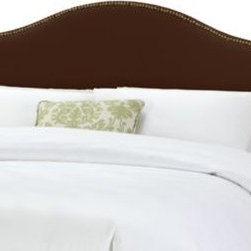 Skyline Furniture - Tara Headboard in Chocolate - Add the perfect finishing touch to your bed. A rich chocolate coloring and beautiful nail head detailing on 100% polyester velvet-like material is an elegant addition to your bedroom.