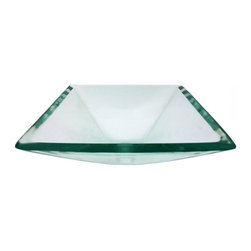 """Legion Furniture - Square Clear Glass Vessel Sink Bowl - This square shaped glass sink  is made of high quality tempered glass with a flat rim. This clear colored glass sink will look great in any bathroom.  Material: Double Layer Tempered Glass; Color: Clear; Dimensions: 16.5"""" X 16.5"""" X 5.5"""" ; Thickness: 3/4""""; Drain Hole: 1.75""""; Weight: 20 lbs; Installation: Top Mount; Included: Chrome Pop-Up Drain and Mounting Ring; Not Included: Faucet."""