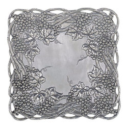 Arthur Court - Grape 12-Inch Square Tray - Don't take it personally when your guests ooh and ahh over this serving tray while virtually ignoring the crab puffs you slaved over all afternoon. The exquisite raised grape pattern on this ornate tray is all they'll notice at first.
