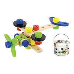 The Original Toy Company - The Original Toy Company Kids Children Play Construction Block Set - Includes 48 wooden pieces that can be inter-linked together to form different models like airplanes, cars, etc. This high quality hardwood set will provide endless hours of imaginative play.