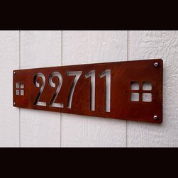 Address Plaques - CUSTOM Mission Style House Numbers Skinny in Rusted Steel