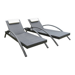 Su-zanne - Malibu OUTDOOR wicker lounge chairs - Stylish comfort all weather resin wicker arm lounge chair with gently curved arms and adjustable back for leisure relaxing.  Includes two chaise lounge chairs.