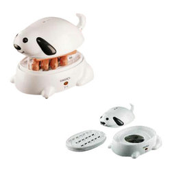"""Maverick - Maverick Hero Hot Dog Steamer - Maverick Hero Hot Dog Steamer Steam Cooks up to 4 hot dogs in under 7 minutes, or 6 hot dogs in under 9 minutes. Add water to indicated level and plug in, automatic shut off when done. Voice chip """"BARKS"""" when done, stops when unplugged. Includes Measuring Cup for precise pouring. Indicator Light. Food tray is dishwasher safe. ETL Listed. 350 watts. 120VAC."""