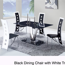 None - High-back Contrast Dining Chair - The elegant design of this armless side chair is realized in its contemporary,high-back style. This piece not only boasts a sophisticated,sleek look,but they are exceptionally comfortable as well.