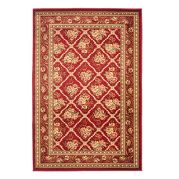 Safavieh - Lyndhurst Rug, Red/Red, 4' x 6' - Safavieh's Lyndhurst collection offers the beauty and painstaking detail of traditional Persian and European styles with the ease of polypropylene. With a symphony of florals, vines and latticework detailing, these beautiful rugs bring warmth and life to
