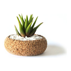 Melanie Abrantes Designs - Mini Cork Planter - Hand-turned cork planters designed for desert plants such as succulents and cacti. It is rough on the outside with a smooth interior, this mini size is perfect as a desk accessory or grouped toegther on your kitchen sill. The Cork is naturally porous making it an ideal material for plants. Each planter has a shellacked interior and finished on the outside with a natural beeswax. Due to the nature of the material each planter and unique and one-of-a-kind. Color and size might vary.
