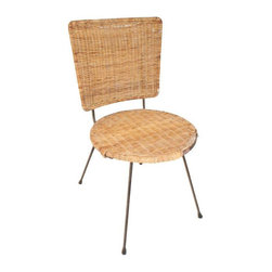 Pre-owned Mid-Century Rattan Side Chair - This little vintage side chair is supremely Mid-Century in woven rattan on an iron frame. We picture it as a darling accent chair in a Mid-Century modern living room, or mixed in with a slew of unique chairs at an eclectic dining room table.