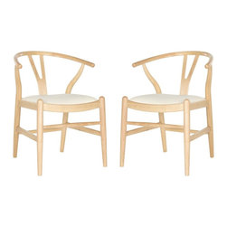 Safavieh - Wixon Dining Chair - Airy and sculptural, the set of two Wixon dining chairs is inspired by a 20th century classic with new curved seat and apron and comfortable ivory seat cushion. A semicurcular back and turned legs are crafted of rubber wood in a light natural finish.