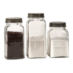 iMax - Dyer Glass Canisters, Set of 3 - With a vintage flair, the Dyer glass canisters hold flour, sugar and coffee on any countertop or pantry shelf in style. Food safe.