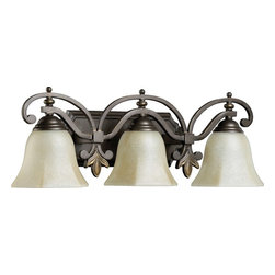Quorum Lighting - Quorum Lighting Marcela Traditional Bathroom / Vanity Light X-68-3-1305 - From the Marcela Collection, this Quorum Lighting bathroom vanity light starts with a classic cut-corner backplate with beveled detailing that accentuates the classic bell shades. Each bell shade is framed by a multi-arch arm with curled detailing. Finials add to the traditional feel of this three light bathroom fixture.