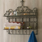 "Towel Shelf  - Looking for a great shelf for the laundry room or bath?  This stylish iron and tole shelf will keep your towels close at hand. Handcrafted of iron and a tole, topped with a wooden finial. 28""W x 12""D x 32.75""T. Available is Distressed Sage or Antique Brown."