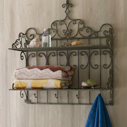 """Towel Shelf - Looking for a great shelf for the laundry room or bath?  This stylish iron and tole shelf will keep your towels close at hand. Handcrafted of iron and a tole, topped with a wooden finial. 28""""W x 12""""D x 32.75""""T. Available is Distressed Sage or Antique Brown."""