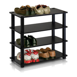 Furinno - Furinno 13081 Turn-S-Tube 4-Tier Shoe Rack, Espresso/Black - This series is designed to meet the demand of fits in space, fits on budget and yet durable and efficient furniture. It is proven to be the most popular RTA furniture due to its functionality, price, and the no hassle assembly. The DIY project in assemblying these products can be fun for kids and parents. There are no screws involved, thus it is totally safe to be a family project. Just turn the tube to connect the panels to form a storage shelf. The materials comply with eco-friendly E1 grade particle board for furniture processed from parts of rubber trees. There is no foul smell of chemicals, durable and it is the most stable particleboard used to make RTA furniture.