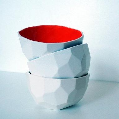 Modern Design Polygon Bowl, Red -