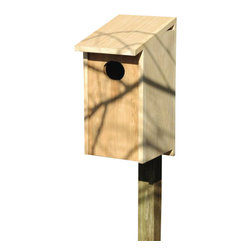 Heartwood - Wood Duck Joy Box Bird House - This  beautiful  birdhouse  is  the  perfect  addition  to  any  home  or  garden  of  your  choice.  Season  after  season,  this  delightful  nesting  box  is  a  joy  to  behold  and  a  breeze  to  maintain  thanks  to  the  easy  twist  latch  and  side-front  panel  that  also  inverts  for  winter  roosting.  Rugged  construction  features  13/16  solid  cypress  and  headed  ring  shank  stainless  steel  nails.  This  bird  house  is  one  you  are  sure  to  enjoy  in  the  years  to  come.  Also  sized  for  all  variety  of  residents.                  11x12x24-1/2              4  hole              Handcrafted  in  USA  from  renewable,  FSC  certified  wood