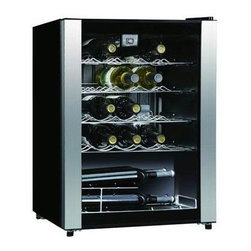 Midea - Wine Cooler 23 Bottle - 23 Bottle Wine Cooler - Mechanical thermostat.  LED temperature display.  See-through glass door.  Single door.  Adjustable leg and Interior light
