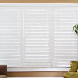 Safe-er-Grip - Faux Wood 41-inch Blinds - These 41-inch PVC blinds give you the look of real wood with the convenience of synthetics. They are easy to tilt and lift with their built-in tilt rod and lift cord, and either of the two available white color options matches perfectly with any decor.