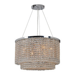 "Worldwide Lighting - Prism 8 Light Chrome Finish Crystal 20"" Rectangle Chandelier - This stunning 8-light Crystal Chandelier only uses the best quality material and workmanship ensuring a beautiful heirloom quality piece. Featuring a radiant chrome finish and finely cut premium grade clear crystals with a lead content of 30%, this elegant chandelier will give any room sparkle and glamour. Worldwide Lighting Corporation is a privately owned manufacturer of high quality crystal chandeliers, pendants, surface mounts, sconces and custom decorative lighting products for the residential, hospitality and commercial building markets. Our high quality crystals meet all standards of perfection, possessing lead oxide of 30% that is above industry standards and can be seen in prestigious homes, hotels, restaurants, casinos, and churches across the country. Our mission is to enhance your lighting needs with exceptional quality fixtures at a reasonable price."