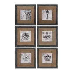 Uttermost - Symbols Wall Art Set/6 - Prints Feature A Glossy Finish And Are Accented By Medium Brown Burlap Mats. Frames Are Finished In Heavily Distressed Black With Brown And Gray Accents.