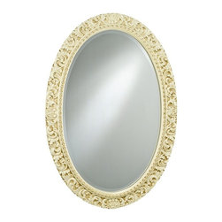 Afina - Timeless Tradition Ornate Oval Wall Mirror - 24W x 36H in. - TT-124-GD - Shop for Bathroom Mirrors from Hayneedle.com! The Timeless Tradition Ornate Oval Mirror provides a touch of classic style to any wall space. Its oval wood frame features highly detailed embellishments that provide a striking contrast to the polished beveled edge mirror. Complement a variety of color schemes with your choice of antique silver antique white or antique gold finishes. The included hardware lets you hang either vertically or horizontally to open up any room hallway or foyer. About AfinaAfina Corporation is a manufacturer and importer of fine bath cabinetry lighting fixtures and decorative wall mirrors. Afina products are available in an extensive palette of colors and decorative styles to reflect the trends of a new millennium. Based in Paterson N.J. Afina is committed to providing fine products that will be an integral part of your unique bath environment.