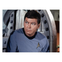 """Oriental Furniture - Star Trek Dr. Leonard """"Bones"""" McCoy Wall Art - Giclee quality limited edition color photo art print of DeForest Kelley in his career defining role as Dr. Leonard """"Bones"""" McCoy on the breakthrough 1960's sci-fi television series, Star Trek. This art grade primed canvas, stretched onto a mitered wood frame, is perfect for the classic Star Trek fan's home or office."""