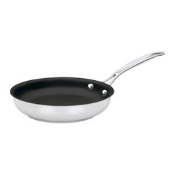 "Cuisinart - Cuisinart Chef's Classic Non-Stick Stainless Steel 8"" Skillet - Sticky situations are part of life, however sticky situations in the kitchen don't have to be. This classic nonstick skillet is so perfectly slick that your culinary creations are sure to remain unscathed."