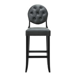 Modway - Button Bar Stool in Black - Create your universe with an elevated opaque version of the popular Casper Chair. While transparency has its place, the opacity of the Buttoned Casper Bar Stool delivers spatial distinction. With its padded black vinyl seat and back, turn your bar or kitchen into an event horizon of outwardly emitted light and joy.