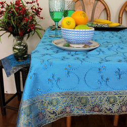 """Unique & Decorative Tablecloths - Gorgeous """"Ocean Blue"""" Hand Embroidered Square tablecloth. Indian made. Dupion Silk fabric. Unique decoration to adorn your table top. Ocean Blue"""