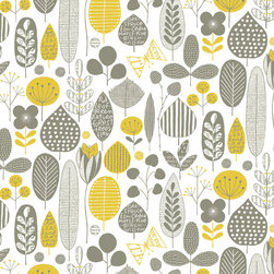 Loboloup - Meadow, Maize & Smokey Gray, Roll - Park yourself in the middle of this retro pattern of leaves and flowers.