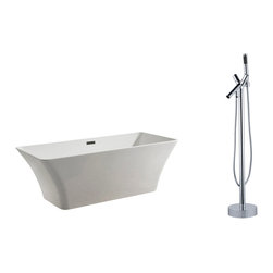 """AKDY - AKDY 67"""" AK-ZF295+8711 Euro Style White Acrylic Free Standing Bathtub w/ Faucet, - AKDY free standing acrylic bathtubs come in many styles, shapes, and designs. The acrylic material used for tubs is very durable, light weight, and can be molded into a variety of shapes and styles which explain the large selection available in this product category. Acrylic free standing tubs are a cost efficient way to give your bathroom a unique beautiful touch. A bathtub is no longer just a piece of cast iron metal thrown into a bathroom by a builder."""