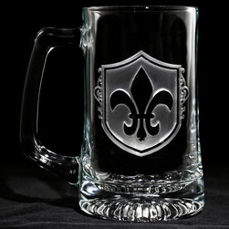 Crystal Imagery - Fleur De Lis Engraved Beer Mugs, Set of 4 - Fleur de Lis engraved beer mugs, featuring the popular French Fleur-de-lis design are a unique gift for the Francophile who loves all things French. Our Fleur de lis engraved beer mug features an old world style shield background carved out from the glass beer mug by our master carvers to leave the fleur de lis raised from the beer glass surface in a stunning 3 dimensional manner. A great wedding gift for a special bride and groom, anniversary or birthday gift idea for someone with French heritage or who loves French Country decor. Our French beer glasses and barware are a gift that will make jaws drop and will be used and appreciated for many years to come.