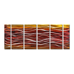Pure Art - Waves of Scarlet Abstract Art Set of 6 - This oversized contemporary metal artwork is made up of six panels of layered color ranging from deep red and brick tones to gold, amber and white. Thin black lines squiggle here and there, adding a feeling of depth, texture and dimension. The waves of white between the colors add a sense of separation and layering, making the artwork read like a deep, red ocean.Made with top grade aluminum material and handcrafted with the use of special colors, it is a very appealing piece that sticks out with its genuine glow. Easy to hang and clean.