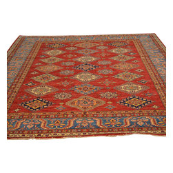 High Quality Kazak Red 100% Wool Hand Knotted 8'x10' Oriental Rug Sh17648 - Our Tribal & Geometric hand knotted rug collection, consists of classic rugs woven with geometric patterns based on traditional tribal motifs. You will find Kazak rugs and flat-woven Kilims with centuries-old classic Turkish, Persian, Caucasian and Armenian patterns. The collection also includes the antique, finely-woven Serapi Heriz, the Mamluk Afghan, and the traditional village Persian rug.