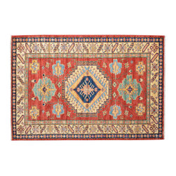 Area Rug, High Quality Kazak 100% Wool 4'X7' Hand Knotted Rug SH11932 - This collections consists of well known classical southwestern designs like Kazaks, Serapis, Herizs, Mamluks, Kilims, and Bokaras. These tribal motifs are very popular down in the South and especially out west.
