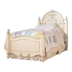 Lea - Lea Jessica McClintock Romance Kids Panel Bed in Antique White Finish-Queen - Lea - Beds - 203952R - The Jessica McClintock Romance Panel Bed is available in either full or queen size and features an antique white wood finish and a detailed fleur-de-lis carving on the headboard. Silver tipping accents the carvings on this gorgeous panel bed. Bring a little romance into your young girl's or guest room with this graceful and timeless bed. Jessica McClintock is one of the most recognized names in women's fashion. Every year more McClintock fashions are seen at proms graduations weddings and special occasions than those of any other designer. Renowned in the fashion world she has a loyal and attentive consumer following.
