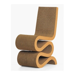 "Vitra - Wiggle Side Chair by Frank Gehry - With the furniture series Easy Edges, Frank Gehry gave a new and suprising aesthetic dimension to cardboard, an everyday material. All of the pieces in the Easy Edges collection, although appear to be amazingly simple, owe their robustness and structural stability to the architectural quality of the designs. The Wiggle Side Chair is vaguely reminiscent of traditional side chairs and - like such predecessors- makes an attractive accent in any interior. Features: -Available in Natural. -Constructed of corrugated cardboard. -Edges made of natural or lacquered cardboard. -Seat Height: 18.5"". Design: -Design is the process by which almost all objects in Vitra's surroundings are instilled with a specific design and function - from cars to paper clips, from clothing to chairs. And design does not just mean giving things a shape. Design creates the basis which enables things to function in the desired manner. It is a process in which complementary but often mutually contradictory requirements have to be met (comfort, technology, ergonomics, ecology, economics, aesthetics). Design can be successful only when the balance of all these factors is attained. Quality: -Once in the factory, Vitra staff manufacture furniture to precise standards, individually ensuring the quality of each product. -Vitra has been certified for DIN EN ISO 9001: 2000. -Vitra's focus on quality does not end at the factory door - they believe that providing clients with exceptional service is just as important as manufacturing furniture. In order to make certain Vitra clients enjoy consistently high quality in all Vitra products, they have set up their own test center which monitors products against criteria that are far more stringent than the statutory standards. Ergonomics: -Ergonomics is an applied science that studies the relationship between human beings and machines. Vitra produces furniture that responds to the ergonomic requirements of the body and as a consequence has a positive effect on health and well-being. All Vitra products (except for the experimental series Vitra Edition) have been tested by independent institutions. They comply with prescribed standards under the European Directive on VDU Work and are marked with the GS seal (= Gepr�fte Sicherheit or Tested Safety, seal of the independent certification company LGA). Ecology: -Vitra's contribution to ecological conservation does not stop with a close examination of materials and processes. All aspects of the company's work involve ecological thinking. -In 1991, Vitra set up an internal ecology committee to discuss environmental topics. This team identifies new tasks, and its project teams work together to find solutions. -Vitra uses only non-CFC foams and adhesives free of toxic solvents; all possible materials are recycled. Wherever possible, Vitra uses recycled materials. -Vitra's goal during production is to minimize noise and emission levels as well as to reduce waste. Packaging materials are kept to a minimum and re-used as often as possible."