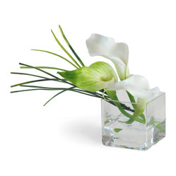 Winward Designs - Mini Calla Lily White Flower Arrangement - This miniature arrangement features elegant calla lilies. The arrangements in this collection prove that good things come in small packages. They go perfectly on bathroom sinks, guest bedroom nightstands and bookshelves.