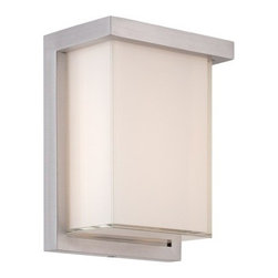"""Modern Form - WS-W1408 Ledge 8"""" 12W LED Outdoor Wall Light, Ws-W1408-Al - A luminous architectural profile and superior construction make this sconce appropriate for transitional and contemporary interiors or exteriors. Mitered silk-screened glass encases a maximum number of LEDs engineered for optimal illumination. Three sizes allow for cohesive specifications across residential and commercial interior and exterior applications."""