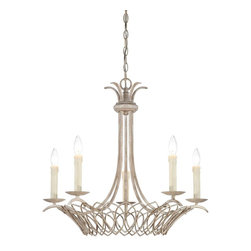 Savoy House Lighting - Savoy House Lighting 1-5781-5-329 Linwood Transitional 5-Light Mini Chandelier - The Linwood collection has the charm and warmth of an antique iron chandelier. Delicate handcrafted metalwork is accented by a Vintage White finish and Pale Cream Beeswax candles.